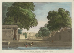 'South Front of the Great Gateway of Seringham Pagoda'. Coloured aquatint by J. Wells after a drawing by Capt. Trapaud, 1788